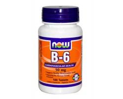 Витамин B-6 / B-6, 50mg, Now Foods